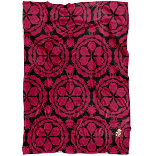 minky blanket in red and black with waratah floral design