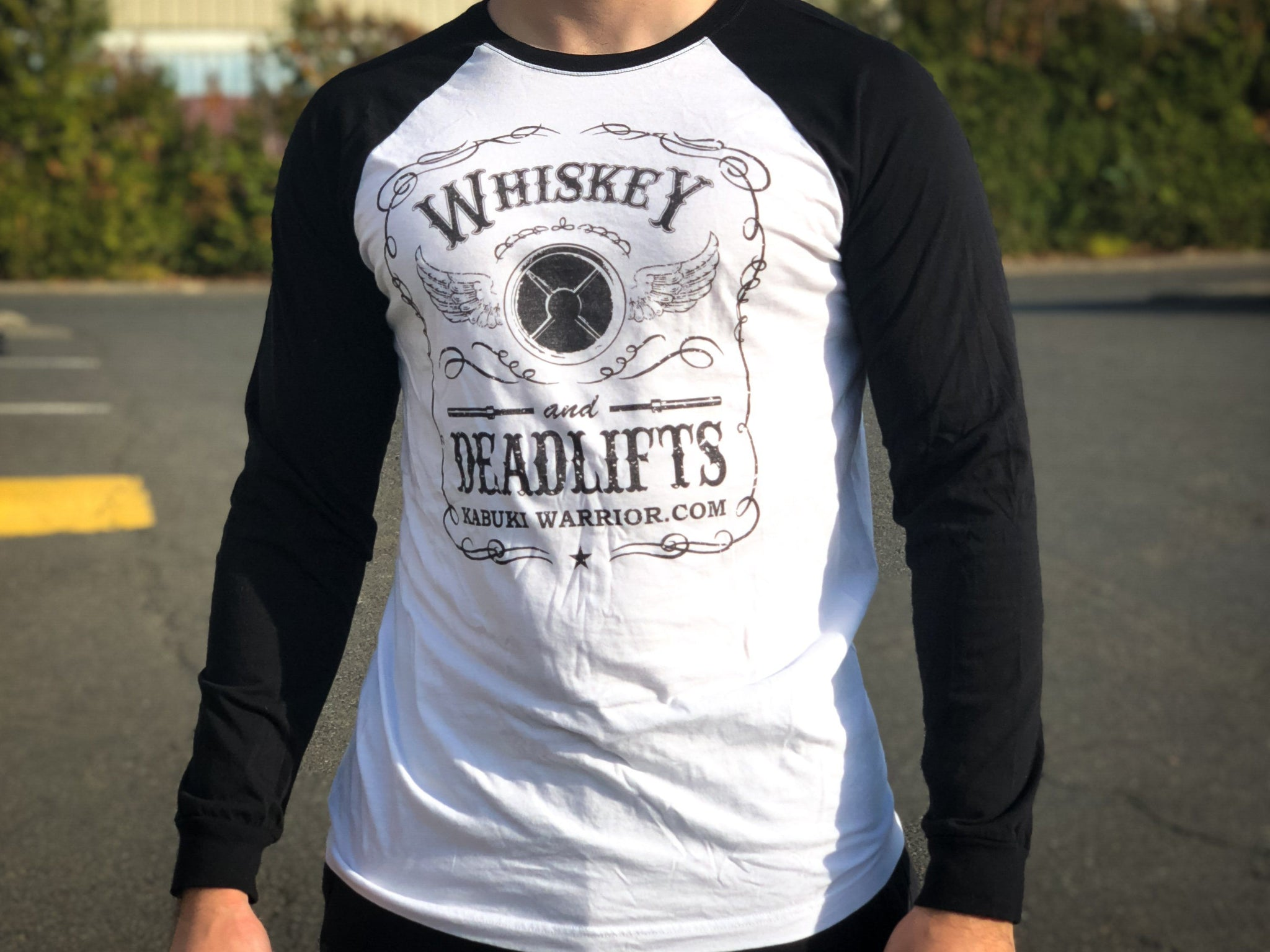 0ec32ad8c Whiskey and Deadlifts Long sleeve Baseball T-shirt (unisex) - Kabuki  Strength Store