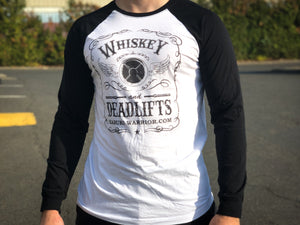 Whiskey and Deadlifts Long sleeve Baseball T-shirt (unisex) - Kabuki Strength Store