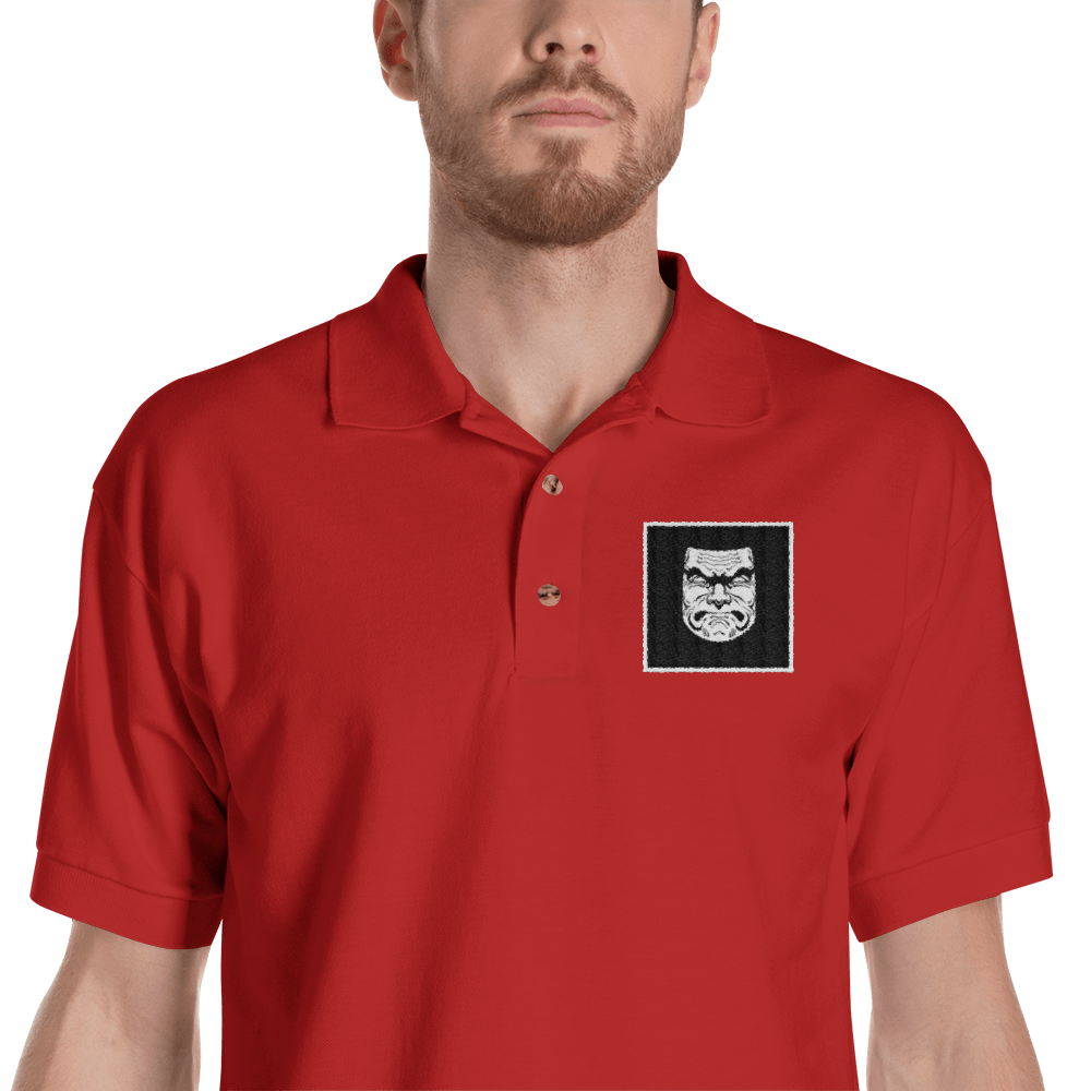Squat Face Square Embroidered Polo Shirt Kabuki Strength Store