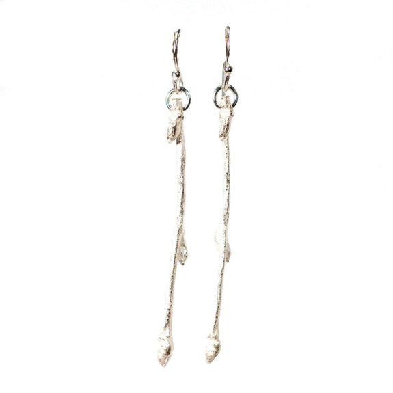 Handmade Sterling Silver Budding Branch Earrings