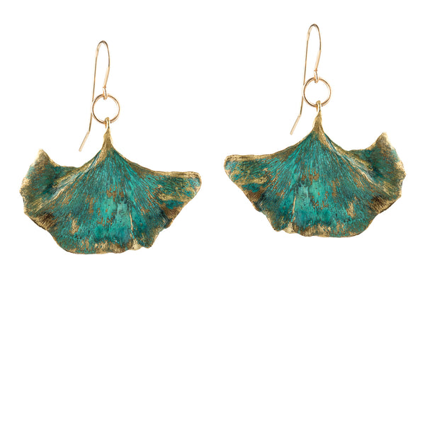 Green Ginkgo Drop Earrings