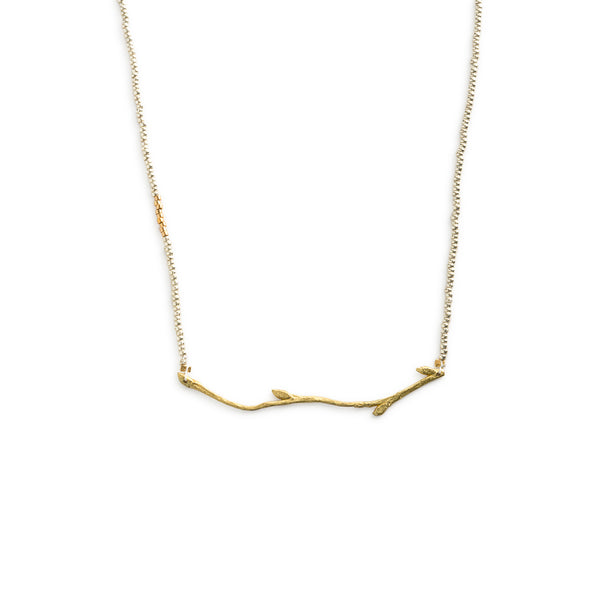 Golden Budding Branch Necklace