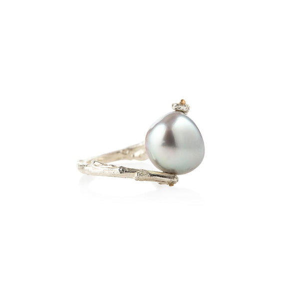 Twig and Pearl Ring