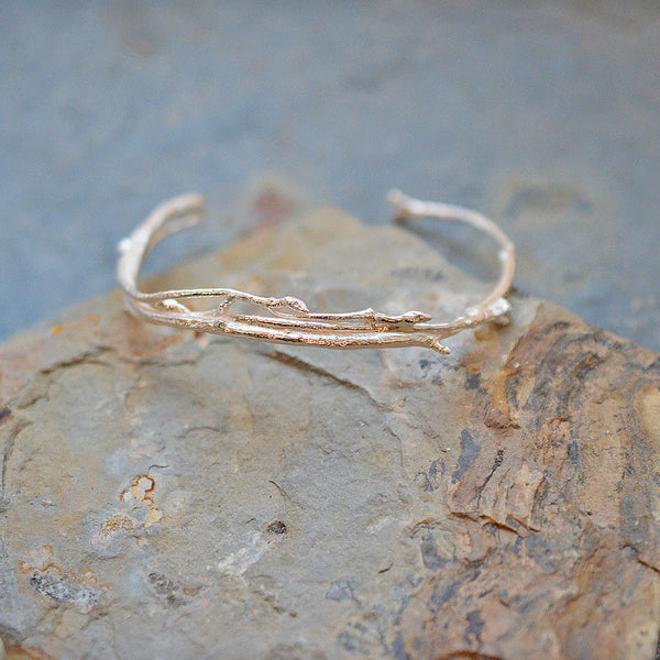 Sterling Silver Thin Budding Branch Bracelet