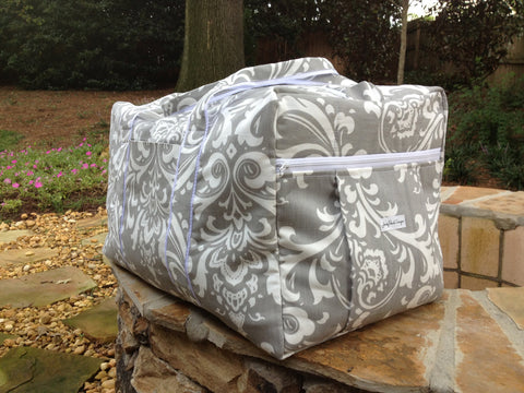 Gray Damask Weekender Duffle Travel Bag