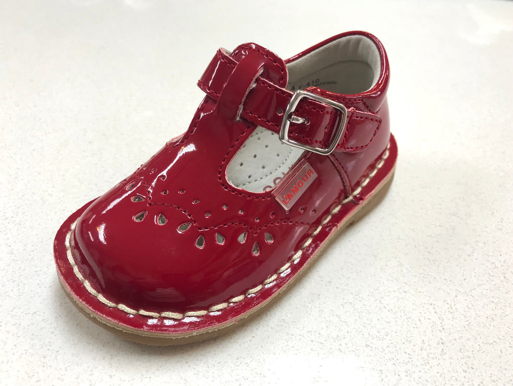Red Patent Ruthie Stitched MJ F410