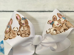 Hand Painted Bow - White w/Bunnies
