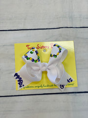Mardi Gras Hand Painted Bow