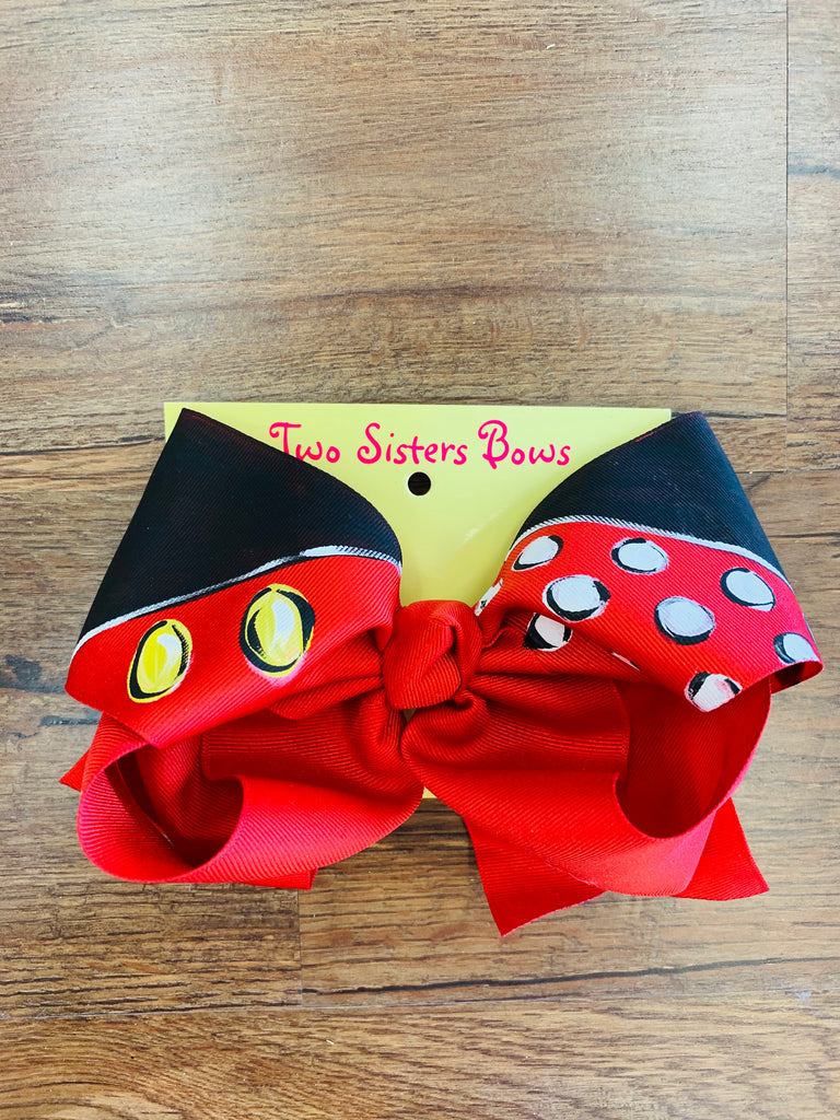Hand Painted Bow - Minnie Mouse
