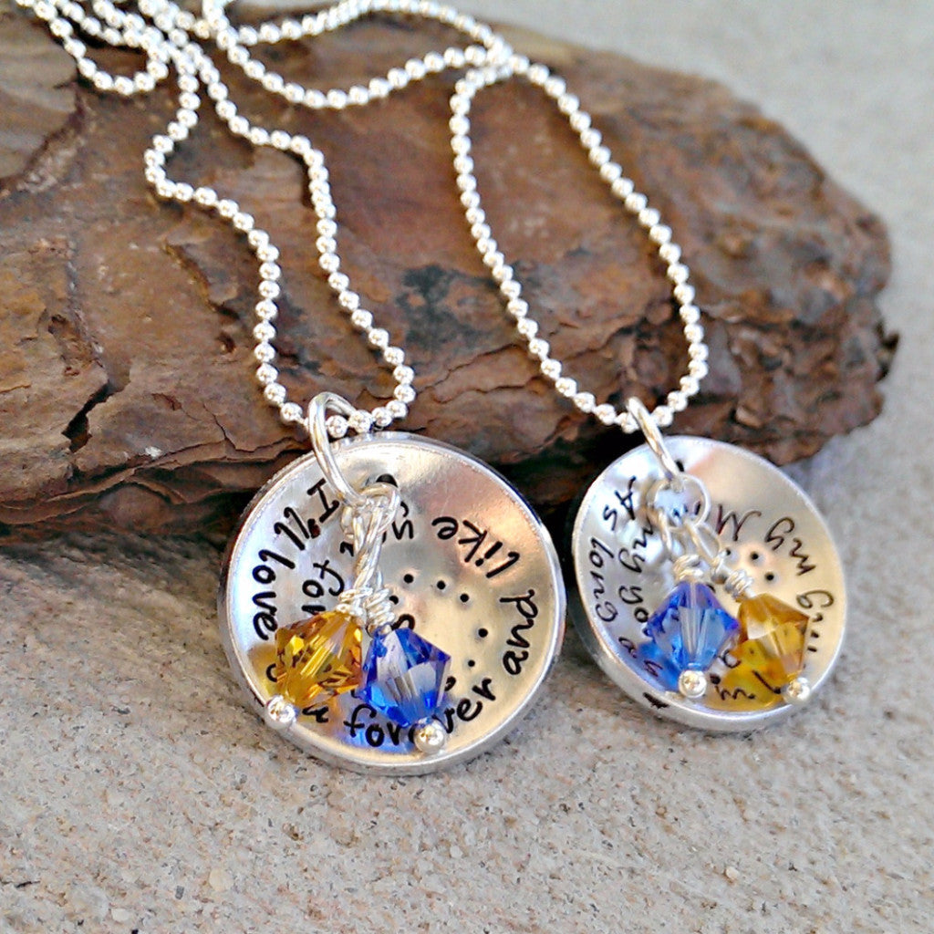 I'll love you forever & like you for always Mom and Daughter Necklaces