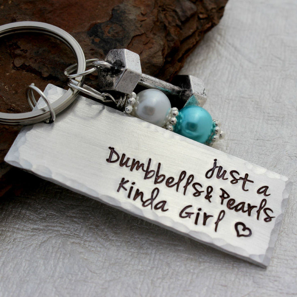 Dumbbells and Pearls Kinda Girl Work-Out Keychain