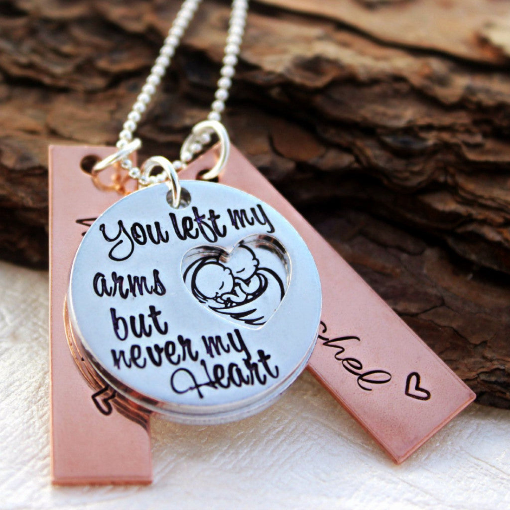 You left my arms but never my Heart Necklace