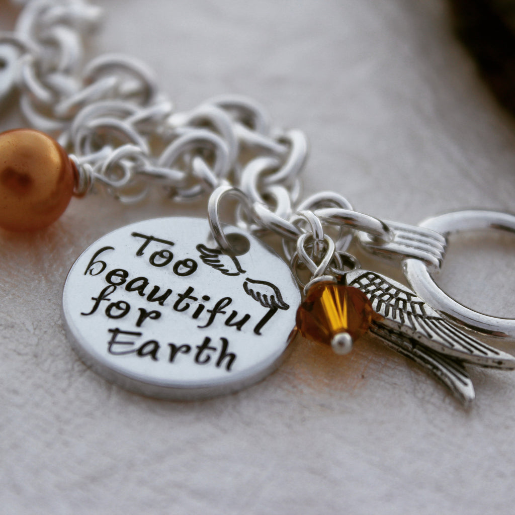 Too Beautiful for Earth Memorial Charm Bracelet
