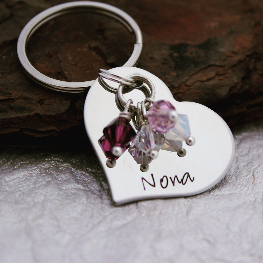 Personalized Nana Heart Keychain