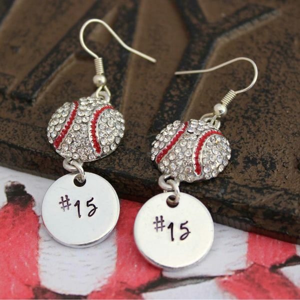 Personalized Baseball Earrings