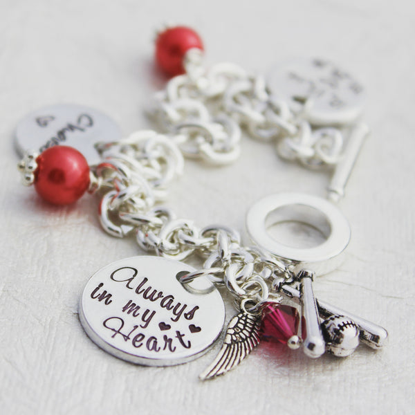 Always in my Heart Memorial Charm Bracelet