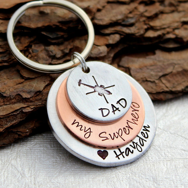 Dad Helicopter Keychain