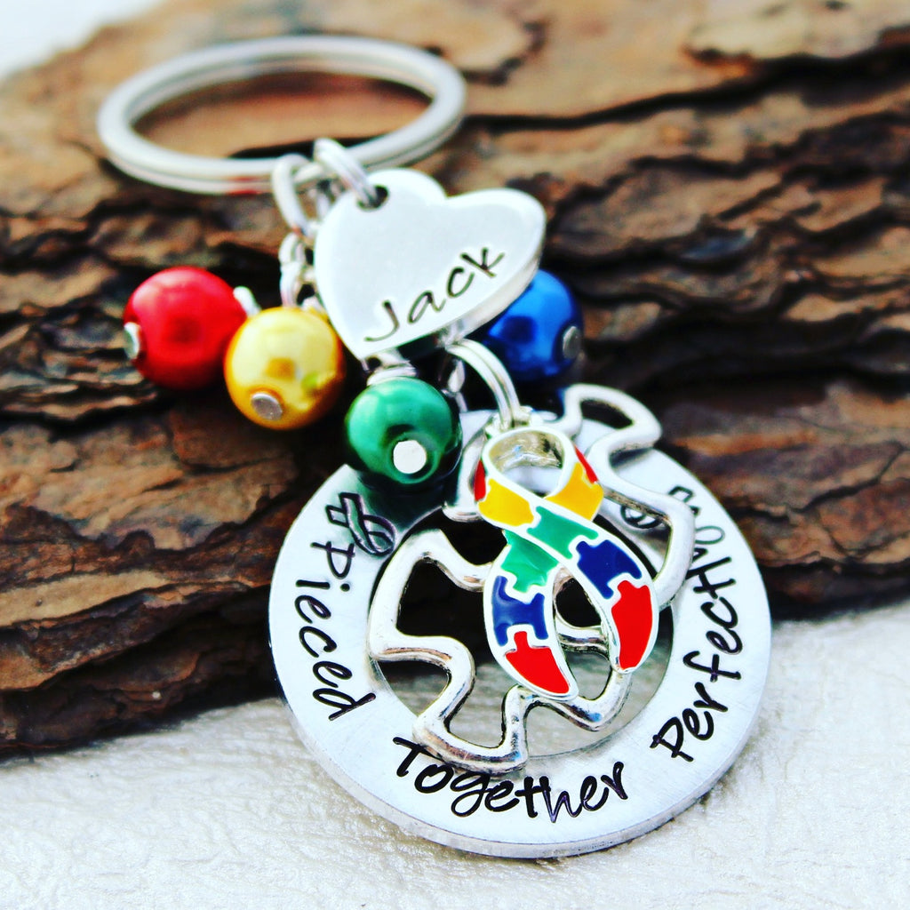 Pieced Together Perfectly Autism Keychain