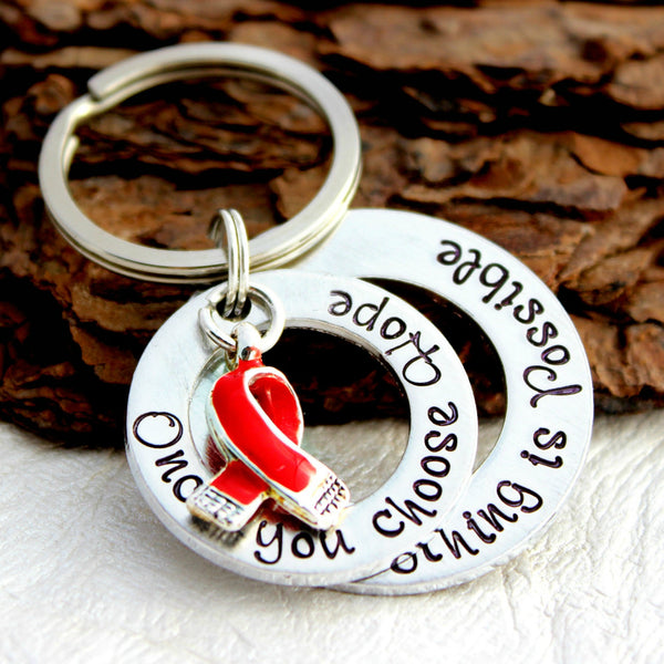 Heart Disease Awareness Double Washer Keychain