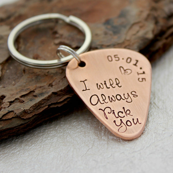 I will always pick you Guitar Pick Keychain