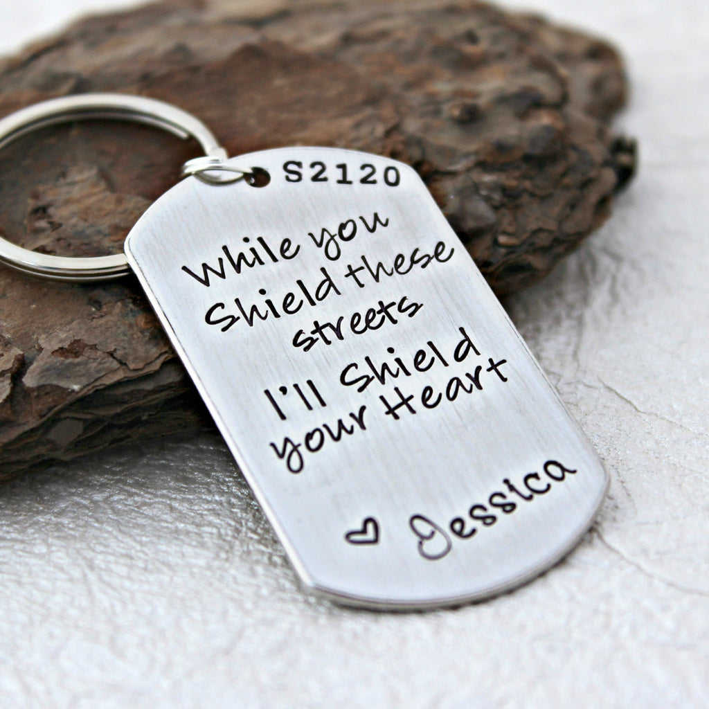 While you Shield these Street, I'll Shield your Heart - Police Officer Keychain