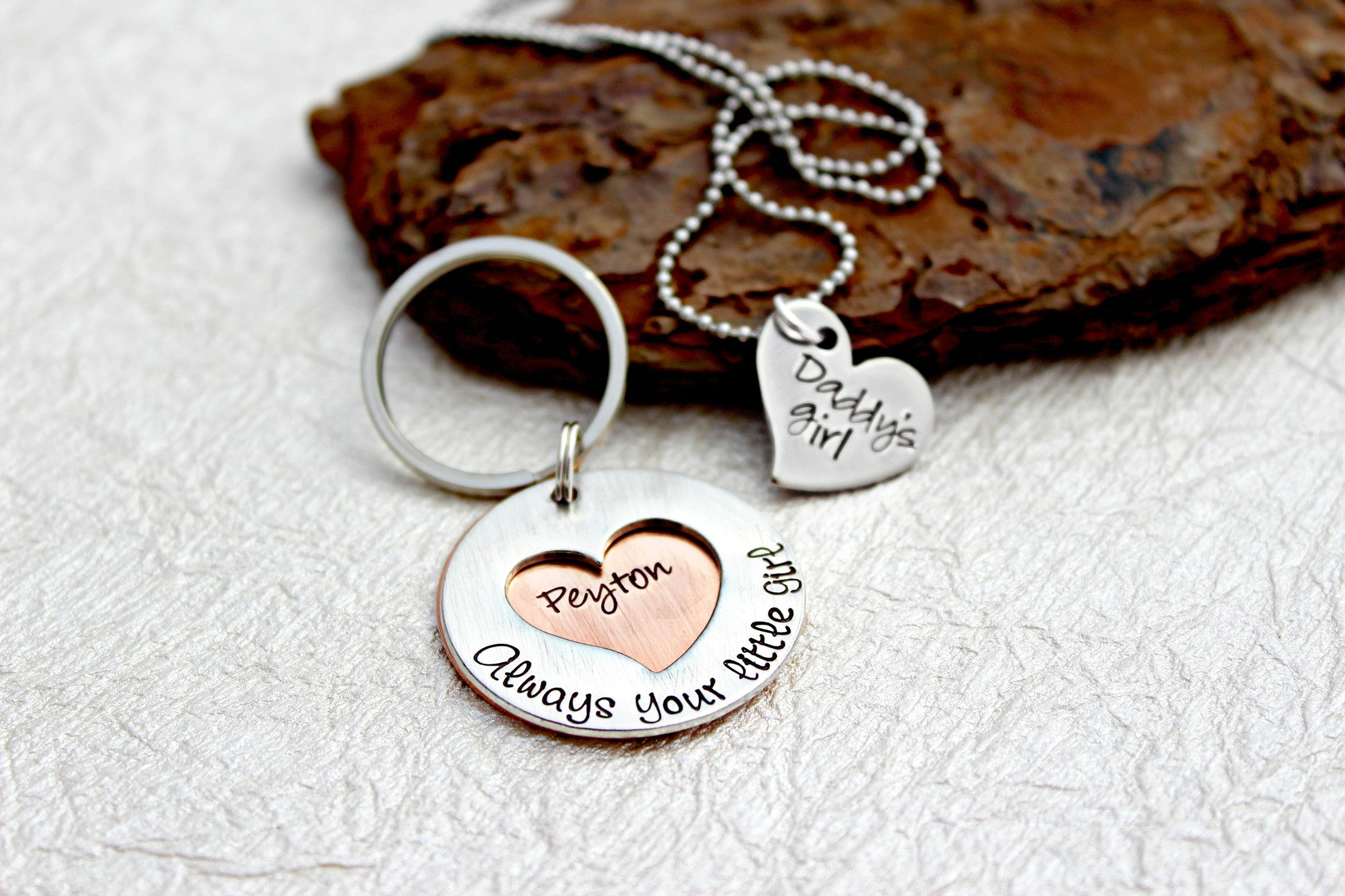 Father Daughter Gifts Part - 31: Father Daughter Gift Set With Necklace And Keychain