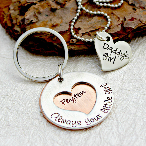 Father Daughter Gift Set with Necklace and Keychain