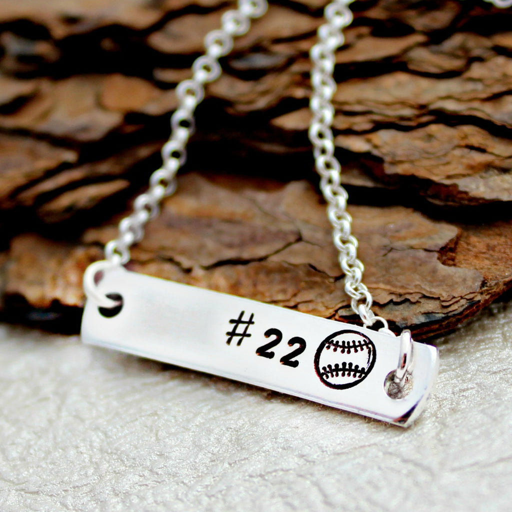 Personalized Baseball Bar Necklace
