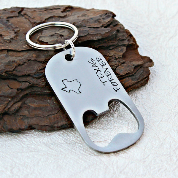 Texas Forever Bottle Opener Keychain