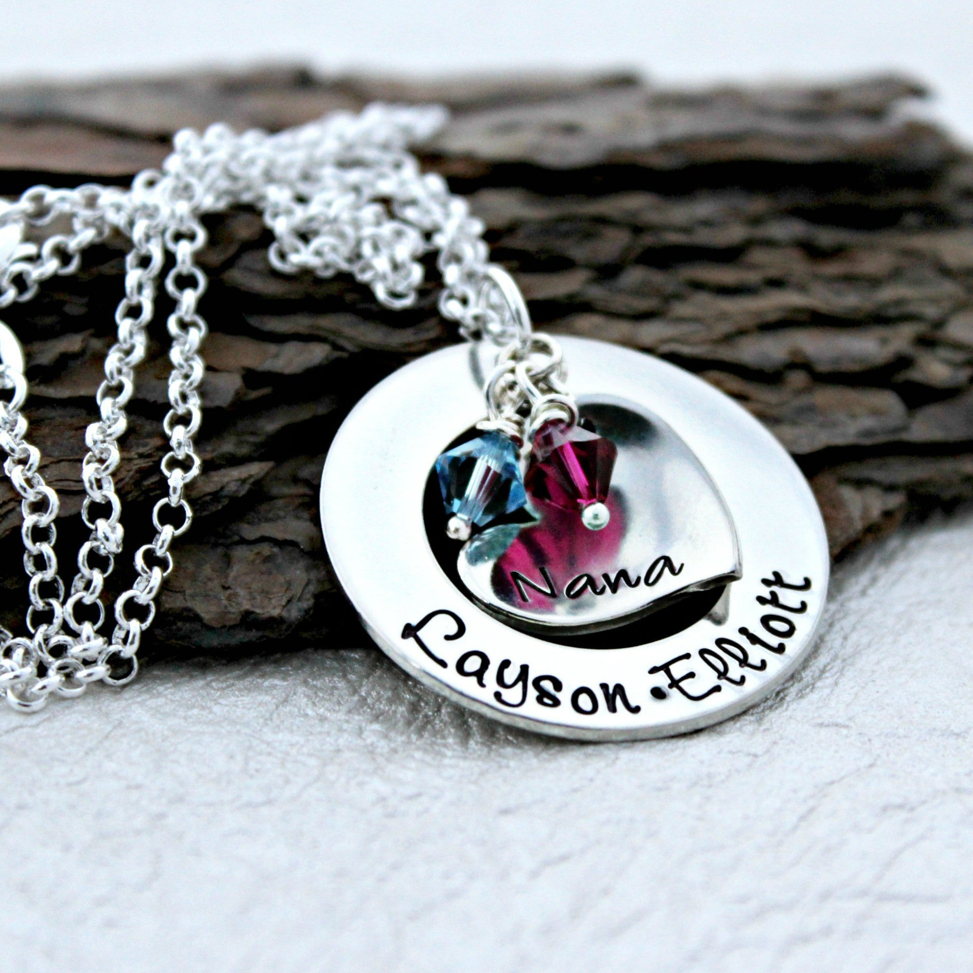 grandmother hand personalized name birthstones nana grandma custom necklace pin stamped crystal with jewelry swarovski