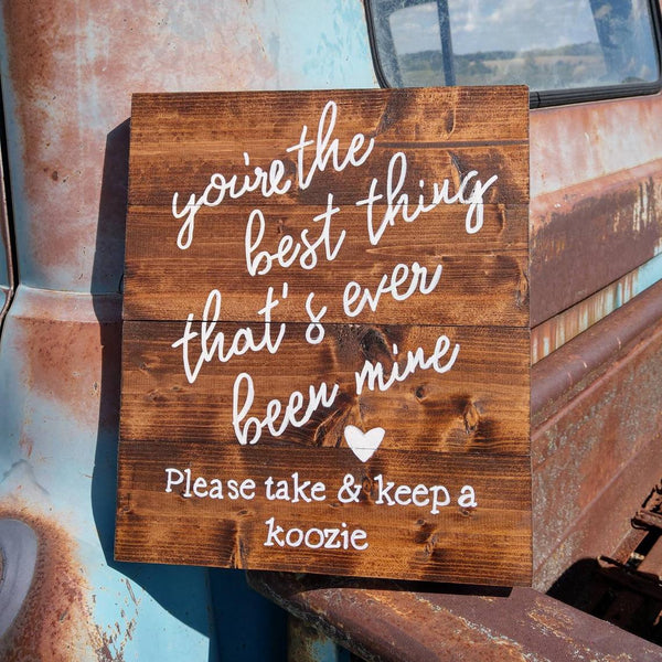 Koozie Table Wedding Sign