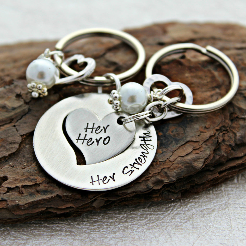 Her Strength Her Hero™ Mother and Daughter Hearts Keychains