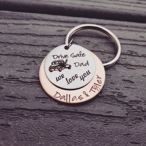 Drive Safe Tow Truck Driver Keychain