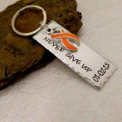 Never Give Up Awareness Keychain