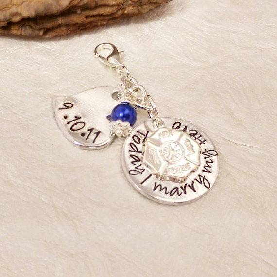 Firefighter Something Blue Wedding Charm