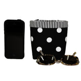 Car Cellphone Caddy Black/ White Polka Dots