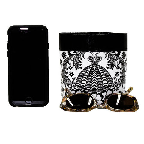 Car Cellphone Caddy ~ Black Toile Oilcloth