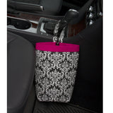 Car Trash Bag ~ Black Damask
