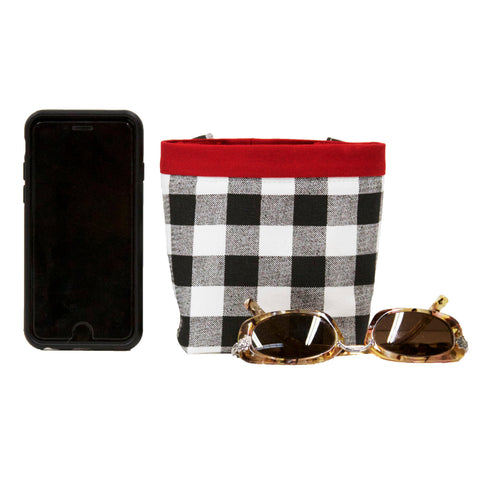 Car Cellphone Caddy ~ Black and White Plaid