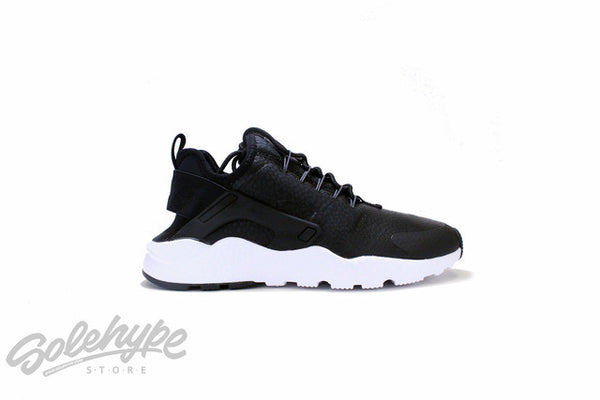 NIKE WOMENS AIR HUARACHE ULTRA PREMIUM BLACK DARK GREY WHITE 859511 001