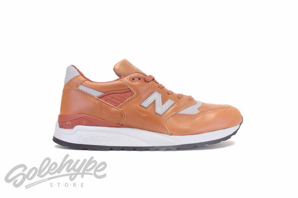 NEW BALANCE 998 AGE OF EXPLORATION BESPOKE HORWEEN LEATHER HAZELNUT BROWN SILVER M998BESP