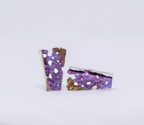 Purple post earrings