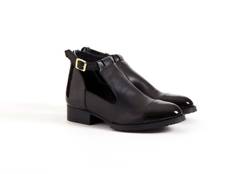 Cut-out Leather and Patent Demi-Boots