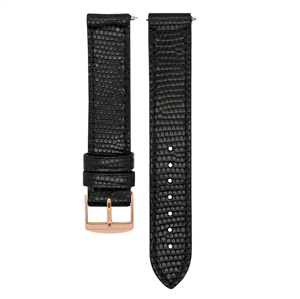STRAP: LEATHER BLACK LIZARD STYLE