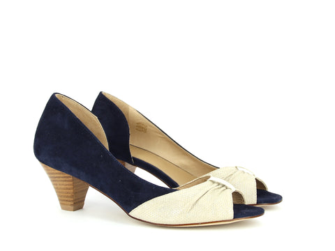 Navy and Cream Peep Toe Heels