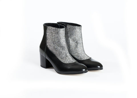 Tweed Patent Leather Boots