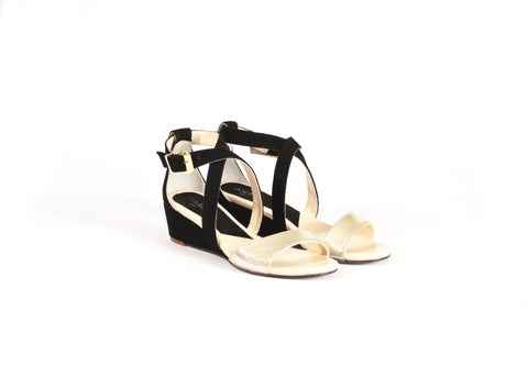Black & Gold Leather & Suede Sandals—Only one pair left!