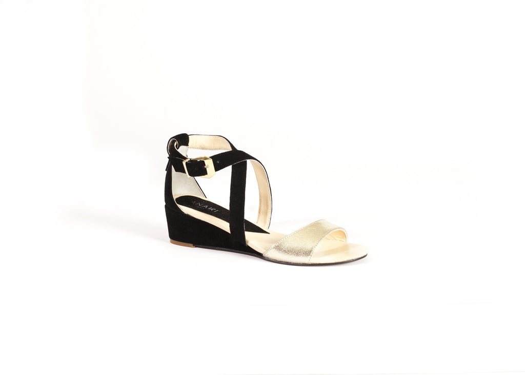 Black & Gold Leather & Suede Sandals