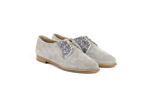 Grey Suede and Glittered Leather Brogues—ONLY ONE PAIR LEFT!